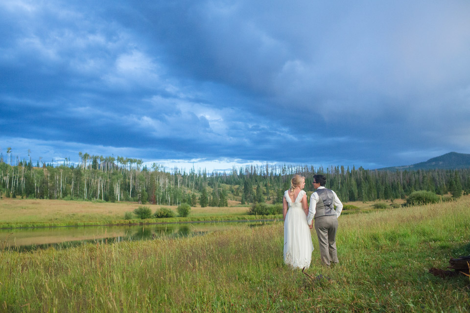 lesbian wedding at Midnight ranch in Steamboat Springs, Colorado